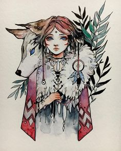 """Day 01: My first entry """"The Wolf"""" for #inktober ✨✨✨Yay! 💜I'm going for a fantasy-inspired list I created so I'm hoping I can keep up with the challenge of drawing everyday 😅 Will do my best!!! Good luck to everyone joining! 💖 🚫Original has SOLD~"""