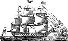 vintage ship clip art, black and white graphics, sea