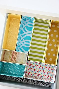 This is a great idea! Cut and cover your old cereal boxes to make drawer dividers, to help organize all of your things.