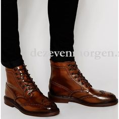 Asos Brogue Boots Leather Chunky Sole 0F416LRP