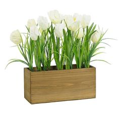 White Tulip Box Arrangement (1.975 RUB) ❤ liked on Polyvore featuring home, home decor, flowers, wood home decor, white home accessories, spring home decor, white home decor and wooden home decor
