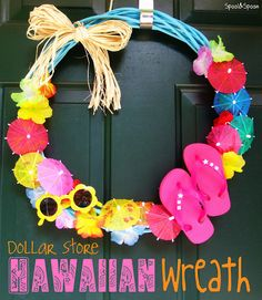 Dollar Store Hawaiian Wreath by Spool and Spoon: Aloha, E komo mai! Aloha Party, Hawaiian Luau Party, Hawaiian Theme, Beach Party, Tropical Party, Luau Birthday, First Birthday Parties, Thema Hawaii, Luau Pool Parties