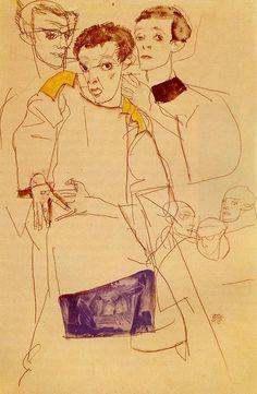 Triple Self Portrait by Egon Schiele 1913