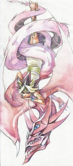 Water Color Slifer the Sky Dragon and Pharaoh Atem