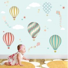 Hot Air Balloon Wall Stickers featuring balloons and kites in a neutral colour scheme and patterns.  Made from premium self adhesive fabric www.enchanted-interiors.co.uk
