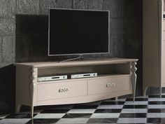 Meuble TV avec 2 tiroirs. Mod. PA9756 Flat Screen, Design, Open Spaces, Turned Wood, White Shellac, Tv Storage, Drawers, Solid Wood, Boutique Online Shopping