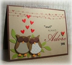 Owl Punch Card, I like the look that the words all came from different stamp sets Owl Punch Cards, Karten Diy, Owl Card, Bird Cards, Love Cards, Valentine Day Cards, Anniversary Cards, Happy Anniversary, Creative Cards