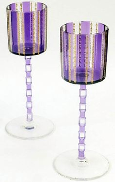 Pair of Otto Prutscher for Meyr's Neffe painted cased and cut wine glasses, circa retailed by E Bakalowits, Vienna (previously owned by Friedrich Hartmann, Viennese composer), each high Estimate to (Lot no: 88 in sale on The Cotswold Auction Company