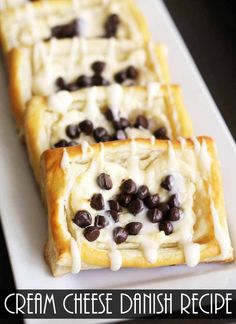Low Carb Recipes To The Prism Weight Reduction Program A cream cheese danish recipe that you will love! The addition of chocolate chips makes this one extra special! Easy to make with store bough puff pastry! Danish Recipe Puff Pastry, Easy Cream Cheese Danish Recipe, Cream Cheese Puff Pastry, Puff Pastry Recipes, Strudel Recipes, Delicious Desserts, Dessert Recipes, Yummy Food, Danish Food
