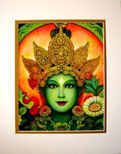 Green Tara Buddha art Goddess meditation matted print of spiritual painting by Sue Halstenberg at HalstenbergStudio on Etsy