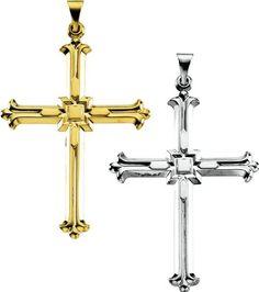 Amazon.com: 14K Yellow or White Gold Cross Pendant 42.5mm x 31.5mm (Yellow or White Gold): Jewelry
