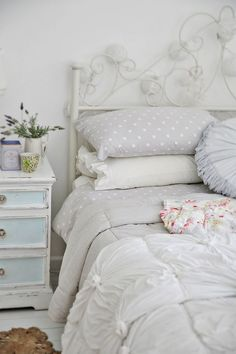 Holy crap! Greyish lavender with white polk-a-dot bed linens... Why did no one tell me this existed??