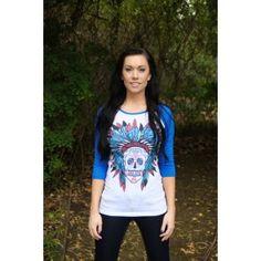 Blue Sweet Sugar Skull Baseball Raglan Shirt Top - Juniors Sizing