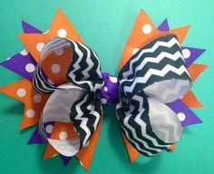 Halloween Hair Bow Fall Hair Bow Chevron Hair Bow by BrinleysBowtique32