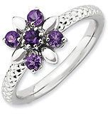 Silver Stackable 5 Round Amethyst Flower Ring
