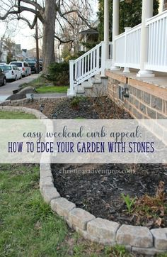 Easy Weekend Curb Appeal Project: Garden Edging With Mini Flagstones.