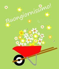greeting card flower filled wheelbarrow bright red wheelbarrow full of pale yellows and white flowers daffodils etc,. Coffee Filter Art, Deco Retro, Boutique Deco, Happy Flowers, Good Morning Good Night, Zen Art, Naive Art, Little Pigs, Dad Birthday