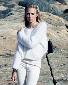 At sweater in angora, kid mohair - Strikk...