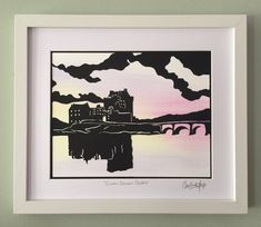 Eilean Donan castle paper cutting art Mixed media watercolours | Etsy