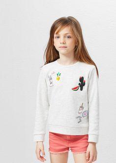 Embroidered cotton sweatshirt -  Kids | MANGO Kids USA