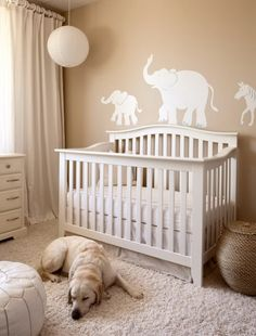 Baby Nursery, Elephant Wall Stickers And Cream Wall Color For Enticing Baby Nursery Decorating Ideas With Fur Rug And White Crub: Classic Baby Nursery Decorating Ideas