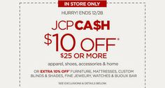 Frugalattes: COUPON: JCPenney: $10 Off $25 In-Store Purchase (Thru 12/28)!