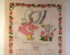 Vintage Linen 1978 Calendar Hallmark Tea Towel