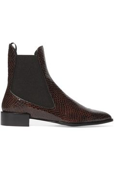 TOPSHOP UNIQUE Belvoir snake-effect leather ankle boots$370, Heel measures approximately 30mm/ 1 inch  Merlot snake-effect leather  Pull on  Made in Spain