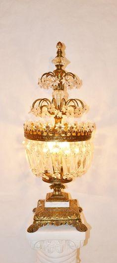 65 Best Vintage Crystal Prism Lamps Images Antique Chandelier