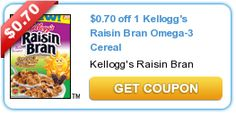 This coupon will double at Price Chopper and ShopRite!  $0.70 off 1 Kellogg's Raisin Bran Omega-3 Cereal