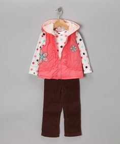 This sweet set includes pants, a top and a cute coordinating vest with a hood. Lace up those sneakers, put that hair in pigtails and get an early start on monkeying around.Includes top, vest and pantsTop: 60% cotton / 40% polyesterVest: 100% nylonPants: 100% cotton