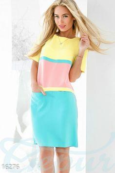 Gepur | Комбинированное трёхцветное платье арт. 16276 Цена от производителя, достоверные описание, отзывы, фото