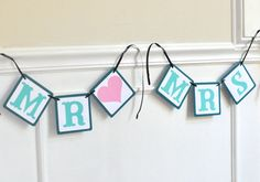 Mr and Mrs Chair Signs  Paper Wedding Garland  by MistyandMe, $14.00