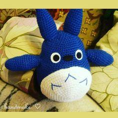 #ToyTotoro #blue #gray #white #pillowTotoro #MyNeighborTotoro #handmade #fantasy #souvenir #amigurumi #toy #gift