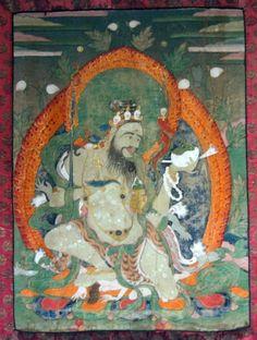 Mahakala Brahmanarupa delicate painting, original mounting consisting of Chinese and Indian Moghul silk-weavings