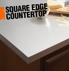 A square edge countertop is the style of finished edge seen here with straight perpendicular lines.