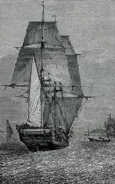19th century engraving of the of the HMS Beagle; a Cherokee-class 10-gun Brig-sloop of the Royal Navy, set sail upon her Second Voyage (1831–1836). New York: Harper, c1879.