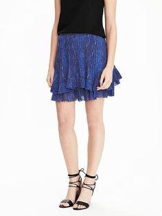 e87e7061ab77e3 NEW Banana Republic Womens Tiered Mini Pleated Ruff Skirt Blue Dusk 10 12  14 $98 #