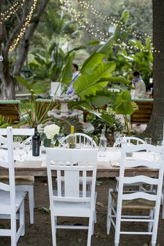 Farm chairs at Malibu wedding reception