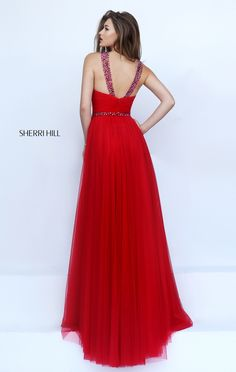 A Line Sherri Hill 50143 Red Beaded Halter Prom Dress | Prom Dresses |  Pinterest | Prom, Gorgeous prom dresses and Top celebrities