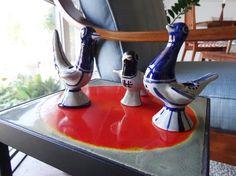 This is a vintage pottery candle holder by the Danish brand Søholm.  3 different birds style candle holders as a set.A hand made product by  Ejnar Johansen in the 1960's and produced by Søholm Pottery on Bornholm (a Danish island).  It is a wonderful vintage home decor for you; especially, for your desk, window, and coffee table decor. Different Birds, Candle Sticks, Decorating Coffee Tables, Vintage Pottery, Vintage Home Decor, Danish, Candle Holders, Blue And White, Window