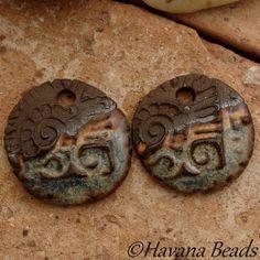 BLUE JEAN RUSTIC Dangles - 2 Handmade Ceramic Earring Pair - #24