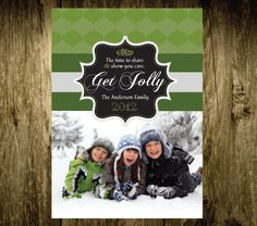 Get Jolly Holiday card with photo - Print yourself. $12.00, via Etsy.