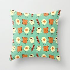 Let's All Go And Have Breakfast Throw Pillow by Teo Zirinis - $20.00 OMG it's so adorable!!! :3