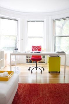 Naseem's Back Bay Live / Work Space — House Tour Lots of white, wood, pops of color. #stylecure