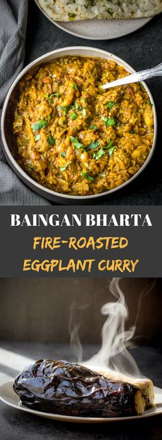Indian baingan bharta recipe - Punjabi Baingan bharta is a smoky-flavored curry made by mashing fire-roasted eggplants and cooking them in a rich onion-tomato gravy. A popular North Indian dish, Baingan bharta pairs well with roti or rice. Learn how to ro Indian Eggplant Recipes, Indian Food Recipes, Vegetarian Recipes, Cooking Recipes, Healthy Recipes, Ethnic Recipes, Eggplant Curry Indian, Authentic Indian Recipes, Indian Curry