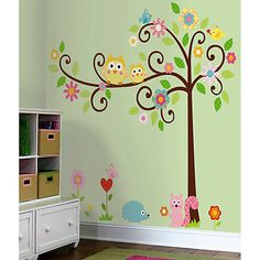 Love this for the nursery.... For a girl..... There's another more suitable for a boy. We are having natural browns and taupe instead of the green and oak furniture. Buy Jomoval Scroll Tree Wall Stickers Online at johnlewis.com