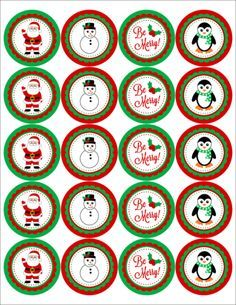 Christmas themed 2 inch circle labels with Santa, Frosty and more. Perfect for embellishing gifts, letters or as cupcake toppers. Free Printable Christmas Gift Tags, Christmas Labels, Christmas Templates, Christmas Themes, Christmas Giveaways, Christmas Messages, Christmas Graphics, Christmas Holiday, Xmas
