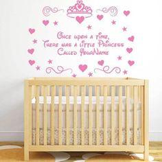 Little Princess Personalised Name Wall Decal S Kids Bedroom Nursery Sticker