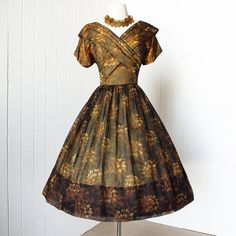 -1950's floral chiffon party dress